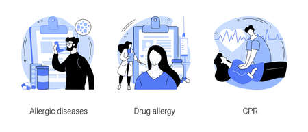 Allergic reaction abstract concept vector illustrations. Çizim