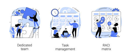 Developers team management abstract concept vector illustrations.