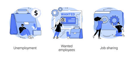 Job search abstract concept vector illustrations.