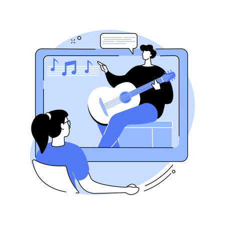 Online music lessons abstract concept vector illustration.