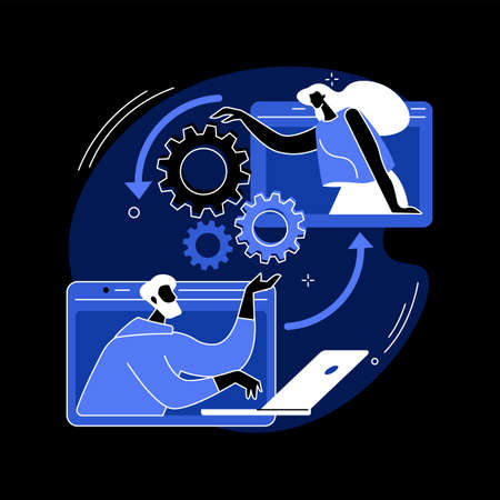 Cooperation abstract concept vector illustration.
