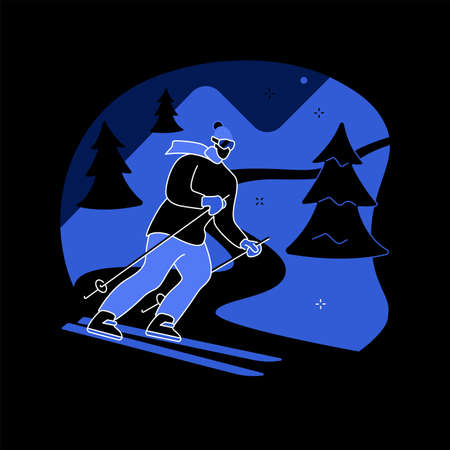 Skiing abstract concept vector illustration. Stock Illustratie