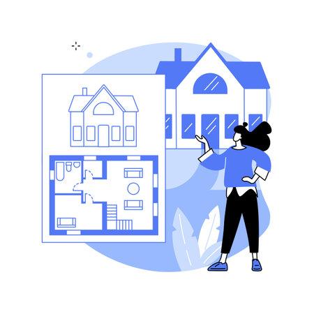 Real estate floor plan abstract concept vector illustration. Ilustração
