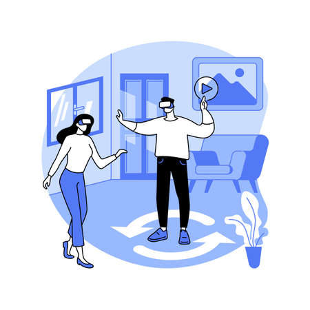 Real estate virtual tour abstract concept vector illustration. Ilustração