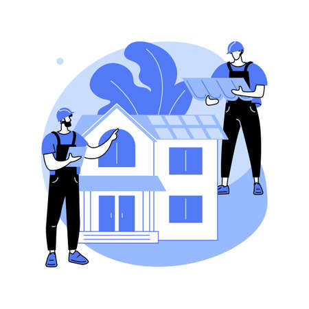 Roofing services abstract concept vector illustration. Illustration