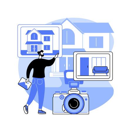 Real estate photography abstract concept vector illustration. Ilustração