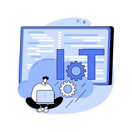 IoT development abstract concept vector illustration.