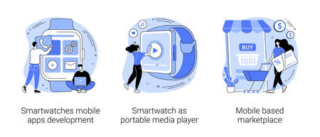Wearable devices abstract concept vector illustrations.