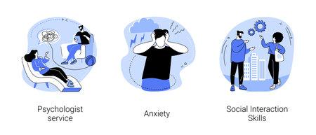 Mental health abstract concept vector illustrations. Vettoriali