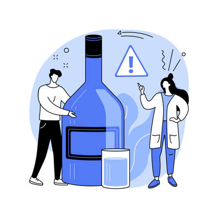 Drinking alcohol abstract concept vector illustration.