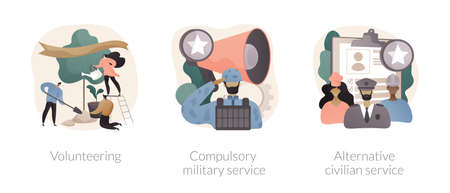 Community service abstract concept vector illustrations.