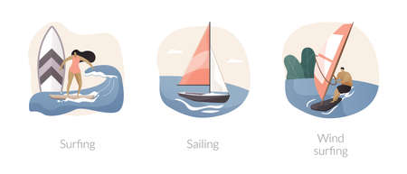 Summer adventure sport abstract concept vector illustrations.