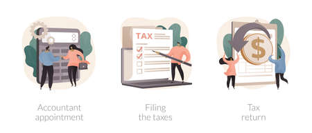 Tax agent service abstract concept vector illustrations. Vettoriali
