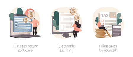 Filing taxes by yourself abstract concept vector illustrations.