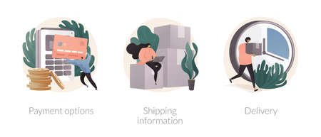Online shopping website abstract concept vector illustrations.