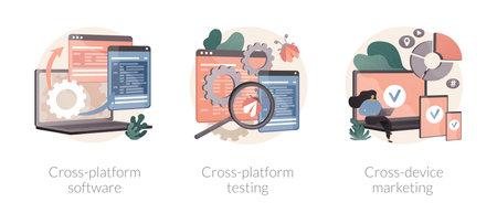 Multi platform framework abstract concept vector illustrations.