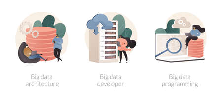 Database storage abstract concept vector illustrations.