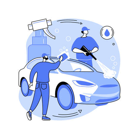 Car wash service abstract concept vector illustration.
