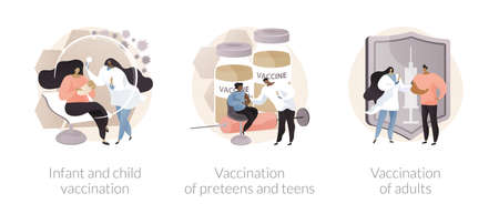 Infectious diseases prevention abstract concept vector illustrations.