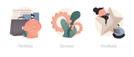 Corporate website menu bar abstract concept vector illustrations.