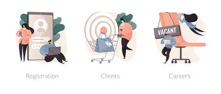 Company website navigation abstract concept vector illustrations. Иллюстрация