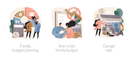 Family budget planning abstract concept vector illustrations.