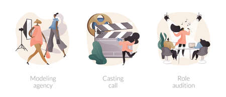Fashion and movie industry abstract concept vector illustrations. Иллюстрация