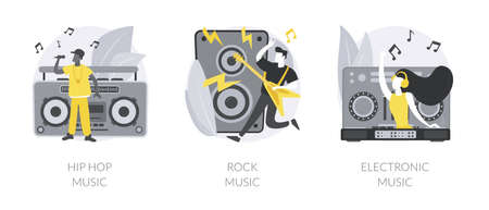 Music preference abstract concept vector illustrations. 矢量图像