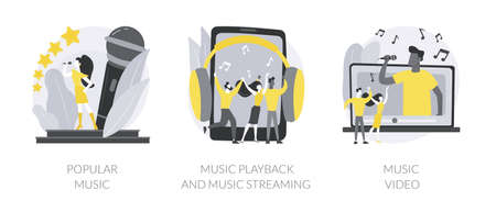 Pop culture abstract concept vector illustrations.
