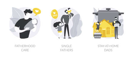 Fathers role abstract concept vector illustrations.