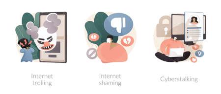 Social media aggressive behavior abstract concept vector illustrations.