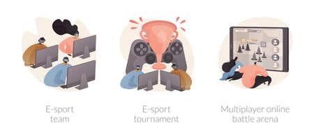 Gaming platform abstract concept vector illustrations.