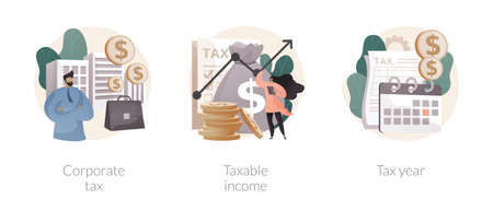 Taxable earnings calculation abstract concept vector illustrations.