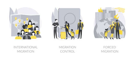Leaving a country abstract concept vector illustrations.