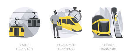 Transport modes abstract concept vector illustrations. 向量圖像