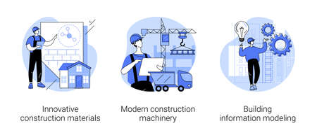 Construction technology innovation abstract concept vector illustrations. Векторная Иллюстрация