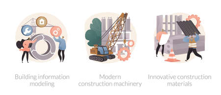 Construction technology innovation abstract concept vector illustrations.