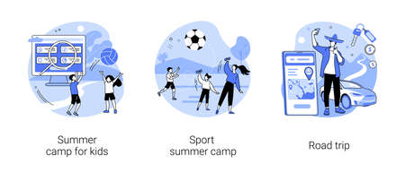 Active summertime abstract concept vector illustrations.