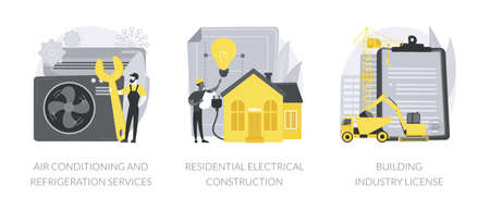 Builder contractor services abstract concept vector illustrations.