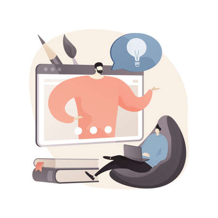 Online teaching abstract concept vector illustration.