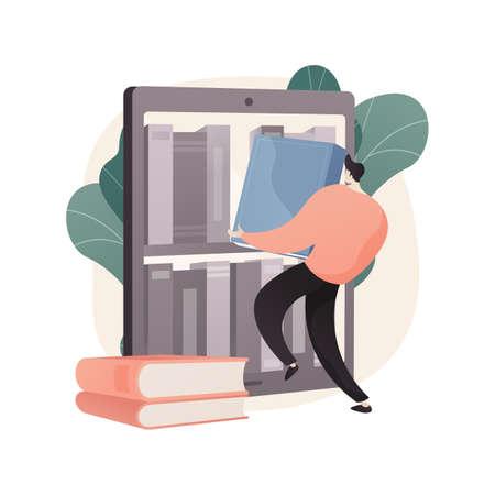 E-library abstract concept vector illustration.