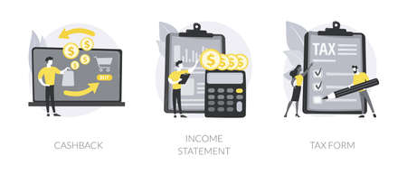 Financial balance documents abstract concept vector illustrations.
