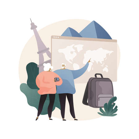 Retirement travel abstract concept vector illustration.