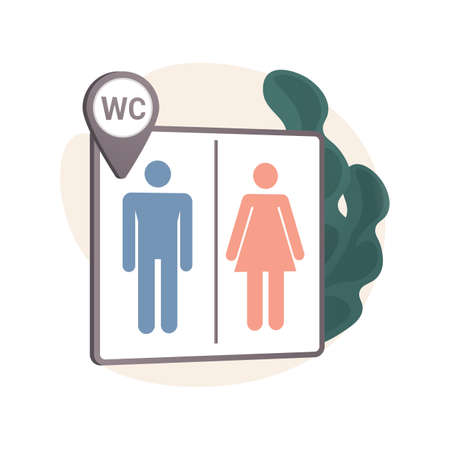 Public restrooms abstract concept vector illustration.