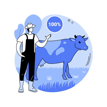 Grass fed beef abstract concept vector illustration.