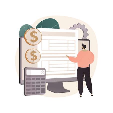 Desktop tax filing software abstract concept vector illustration. Ilustração Vetorial