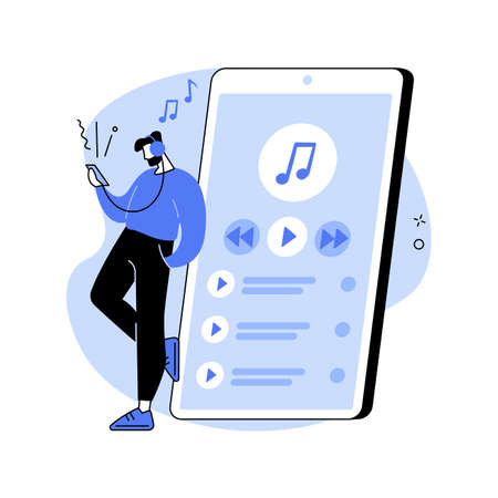 Music playback abstract concept vector illustration.