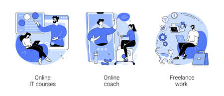 Freelancer job abstract concept vector illustrations. Ilustração Vetorial