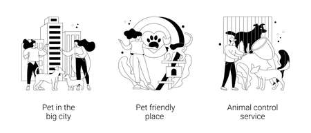 Pet ownership abstract concept vector illustrations.