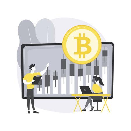 Cryptocurrency trading desk abstract concept vector illustration. Ilustración de vector